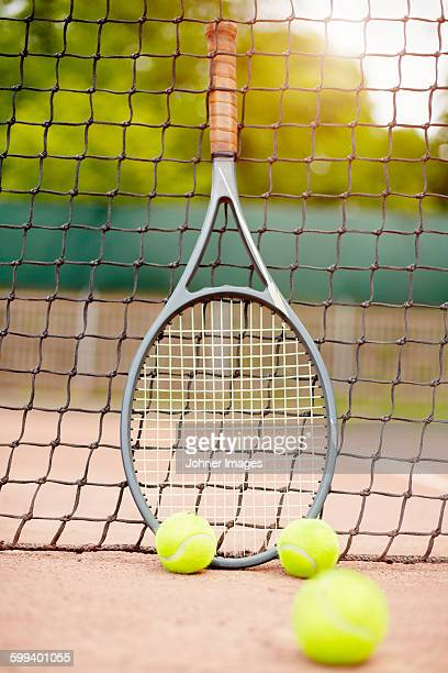 Tennis racket and balls