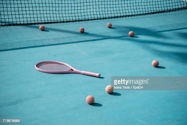 tennis racket and balls - tennis racket stock pictures, royalty-free photos & images