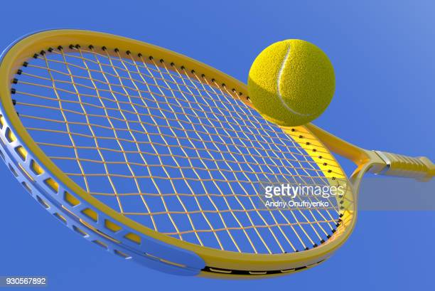 Tennis Racket hit ball close up