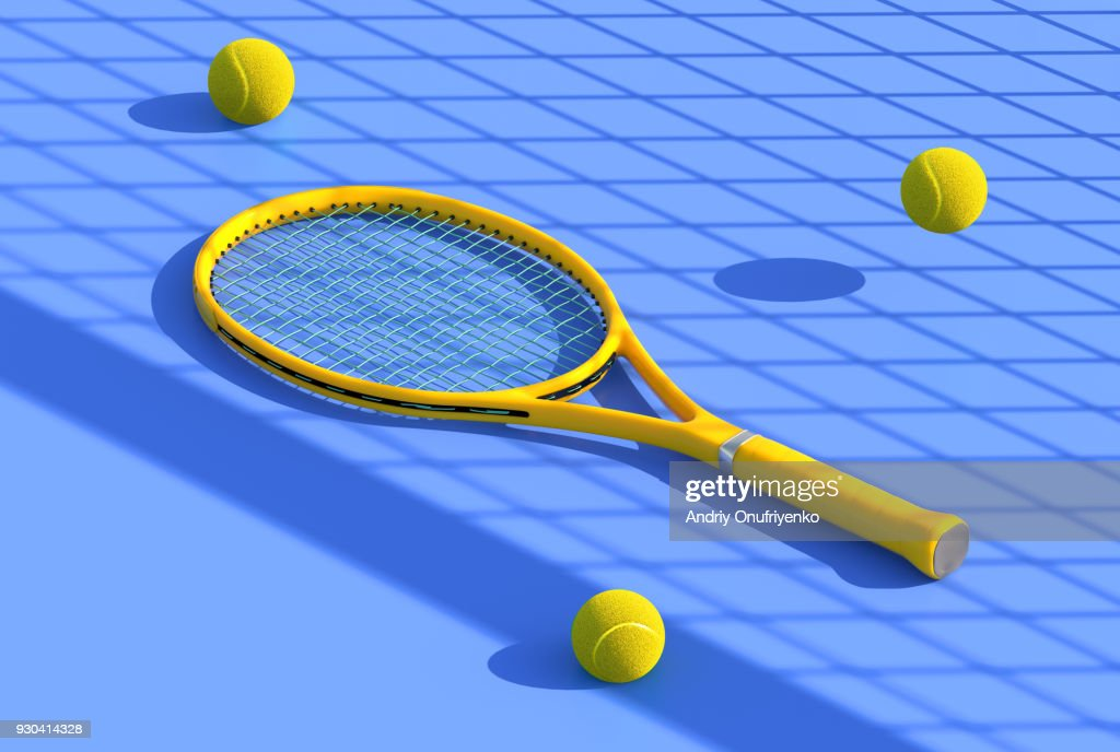 Tennis racket on court : Stock Photo