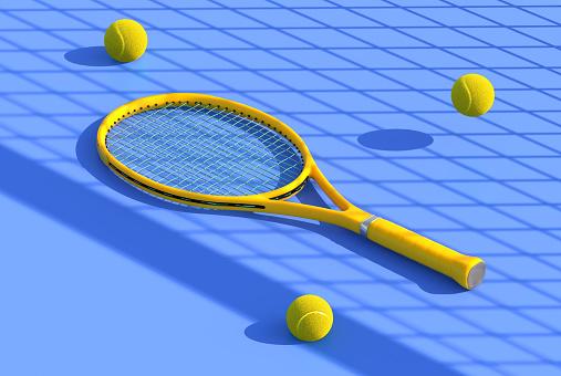 Tennis racket on court - gettyimageskorea