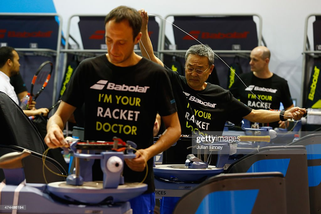 Tennis racket repairs take place ahead of the 2015 French Open at Roland Garros on May 23, 2015 in Paris, France.