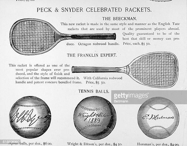 Tennis rackets and balls. Undated engravings from a catalog.