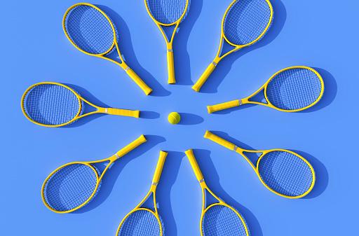 Tennis rackets on court - gettyimageskorea