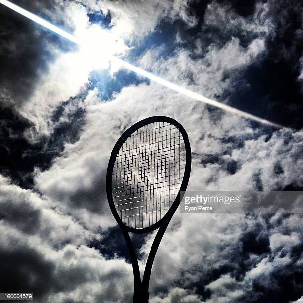 A tennis racquet is seen during day nine of the 2013 Australian Open at Melbourne Park on January 22 2013 in Melbourne Australia