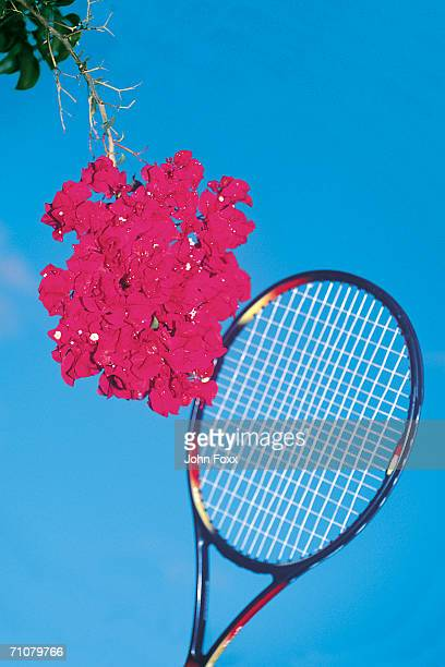 tennis racquet with flowers
