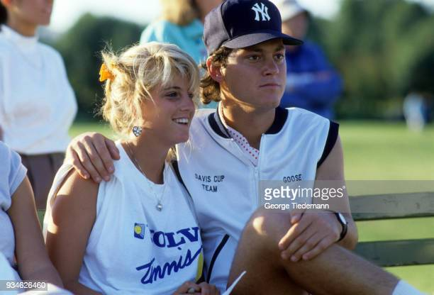 Robert Seguso with fiance Carling Bassett watching softball game New Jersey 7/17/1987 CREDIT George Tiedeman
