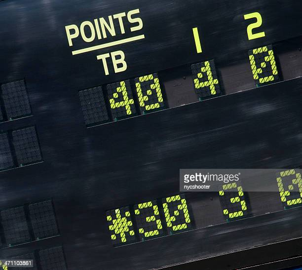 tennis scoreboard 30-40 breakpoint - scoring stock pictures, royalty-free photos & images