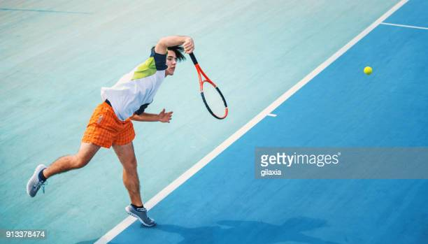 tennis serve. - tennis player stock pictures, royalty-free photos & images