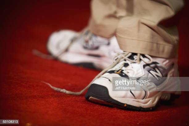 Tennis shoes come untied on stage during the first round of oral competition in the Grand Hyatt Hotel June 1, 2005 in Washington, DC. The 78th Annual...