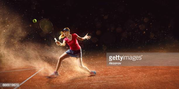 tennis: sportswoman in action - sport set competition round stock photos and pictures