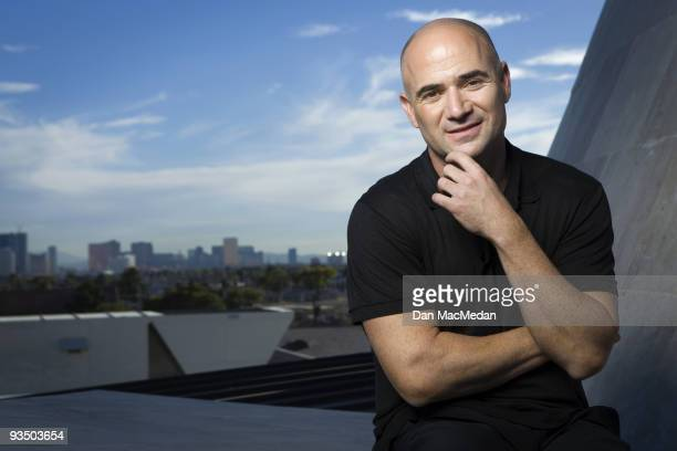 Tennis Star Andre Agassi poses for a portrait atop the Andre Agassi College Prepatory Academy in Las Vegas Nevada on November 9 2009