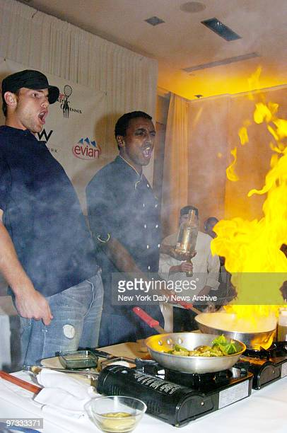 Tennis star Andy Roddick and Aquavit chef Marcus Samuelson cause a kitchen conflagration by adding liquor to a salmon dish they're preparing during...