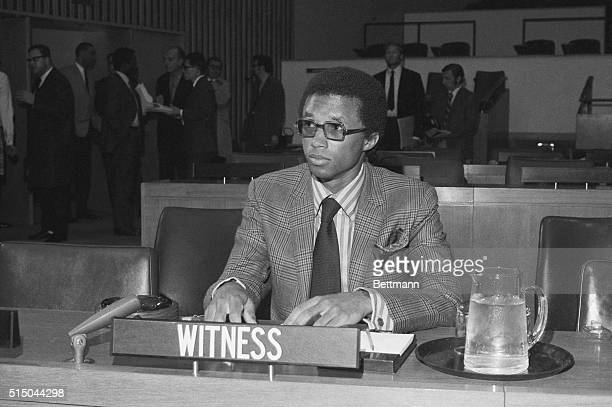 Tennis star Arthur Ashe is shown here during hearings of the General Assembly's Special Committee on Apartheid on April 14th. Ashe of Richmond,...