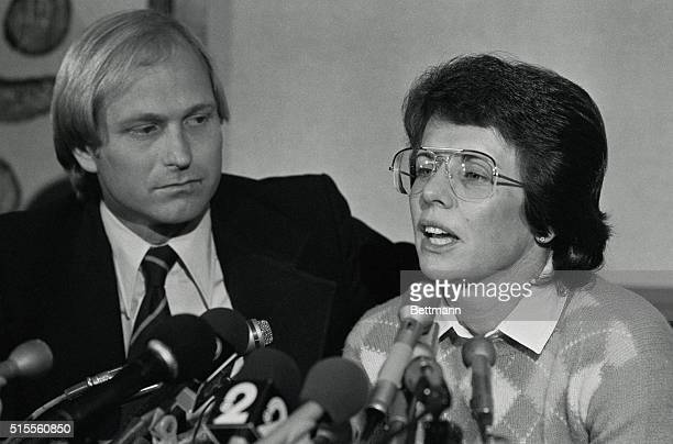 Tennis star Billie Jean King answers questions at a press conference here in which she admitted that she carried on a homosexual relationship several...