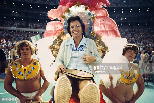 ABC SPORTS 'BATTLE OF THE SEXES' TENNIS MATCH 9/20/1973 Bobby Riggs taunted all female tennis players prompting Billie Jean King to accept a...