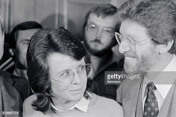 Tennis star Billie Jean King smiles with her attorney Dennis Wasser outside courtroom after a superior court judge ruled that her former lesbian...