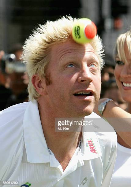 Tennis star Boris Becker shows off his tennis skill at the Ariel Celebrity Tennis Match held in Trafalgar Square on June 13 2005 in London England