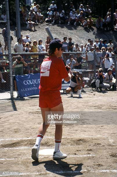 Tennis star John McEnroe at bat in an exhibition softball game for Cerebral Palsy Research at the Mita Sports Festival on July 25 1986 in Lake Tahoe...