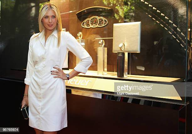 Tennis star Maria Sharapova arrives for the official opening of TAG Heuer's first Melbourne boutique at Collins Street on January 14 2010 in...