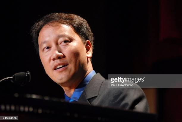 Tennis star Michael Chang speaks at the 21st Annual Great Sports Legends Dinner to benefit The Buoniconti Fund to Cure Paralysis at the Waldorf...