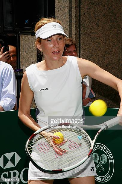 Tennis star Monica Seles rallies on a popup tennis court on Fifth Avenue on June 19 2008 in New York