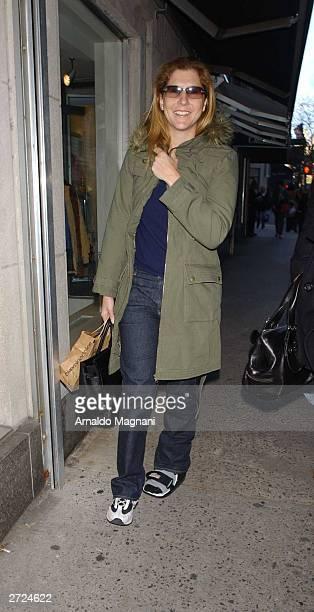 Tennis star Monica Seles walks outside La Goulue restaurant November 7 2003 in New York City