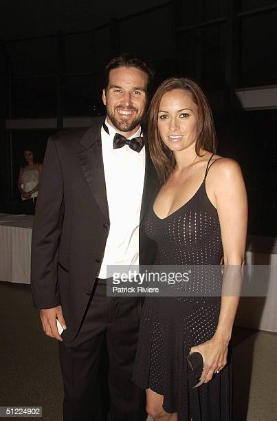 Tennis star Patrick Rafter and model girlfriend Lara Feltham at the Starlight Children's Foundation Australia Championship Dinner in Sydney