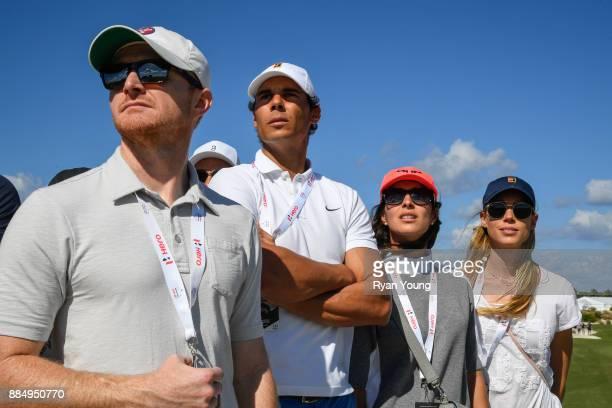Tennis star Rafael Nadal watches Tiger Woods play during the final round of the Hero World Challenge at Albany course on December 3 2017 in Nassau...