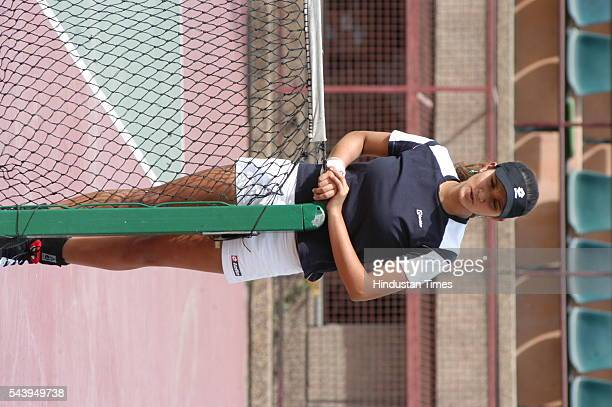 Tennis star Sania Mirza during a practice session at DLTA on April 16 2006 in New Delhi India She is currently ranked world no1 in women's doubles...