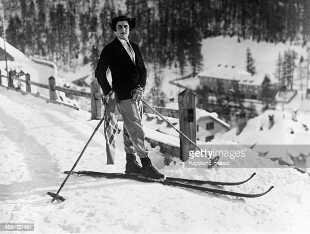 Tennis star Senorita D Alvarez is skiing circa 1930 in Saint Moritz Switzerland