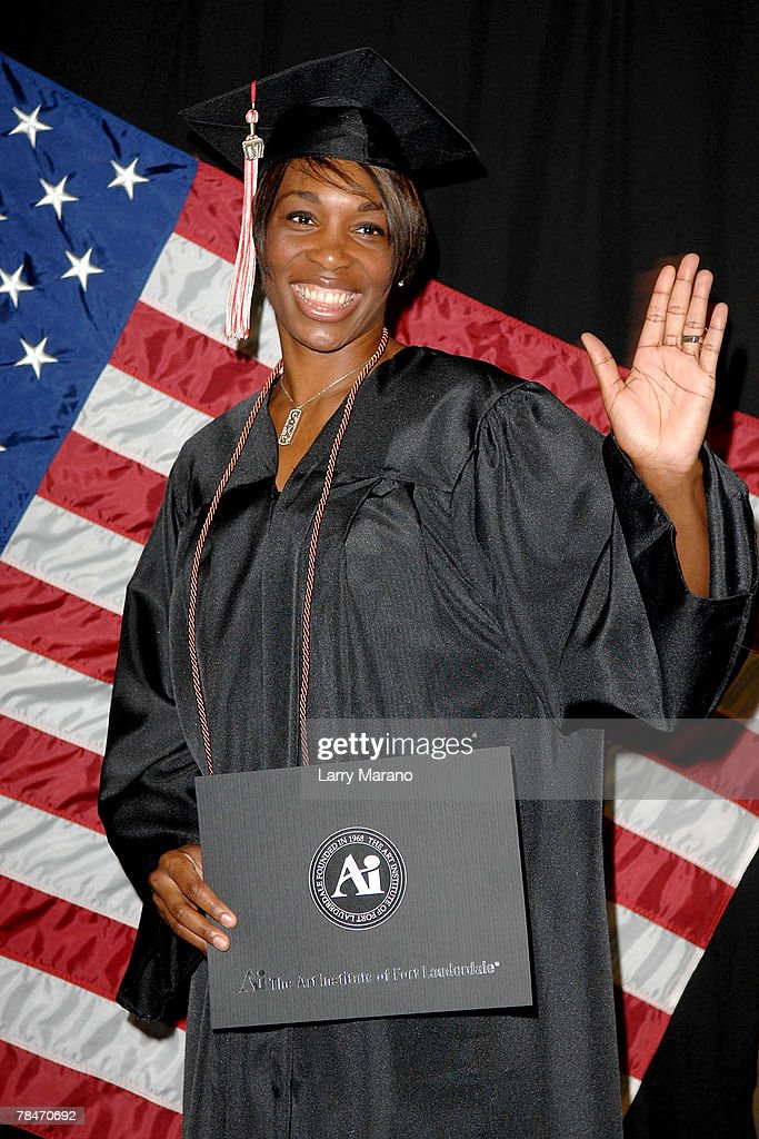 tennis star venus williams poses with her diploma after graduating from the art institute of fort