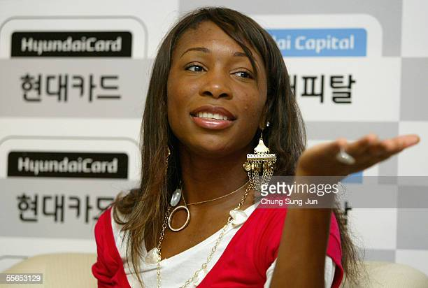 Tennis star Venus Williams speaks during a press conference after arriving at Incheon International Airport on September 16 2005 in Incheon South...