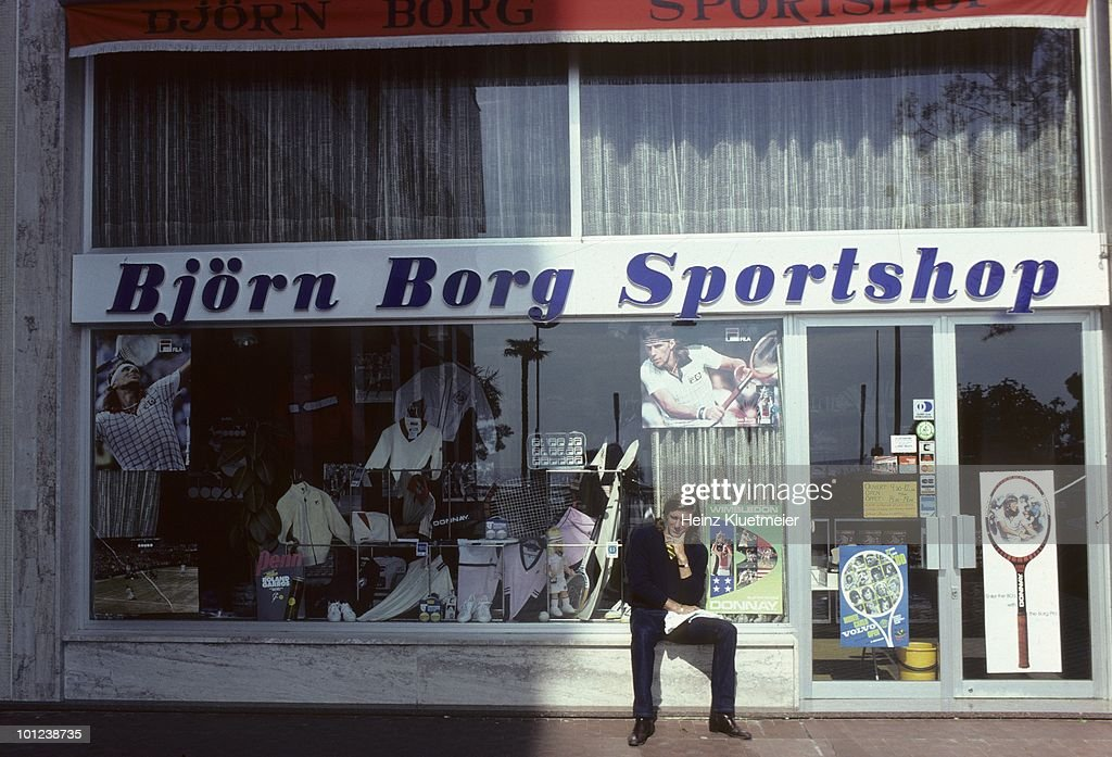 Sweden Bjorn Borg outside of sports store during photo shoot. Monte Carlo, Monaco 3/1/1980--3/31/1980