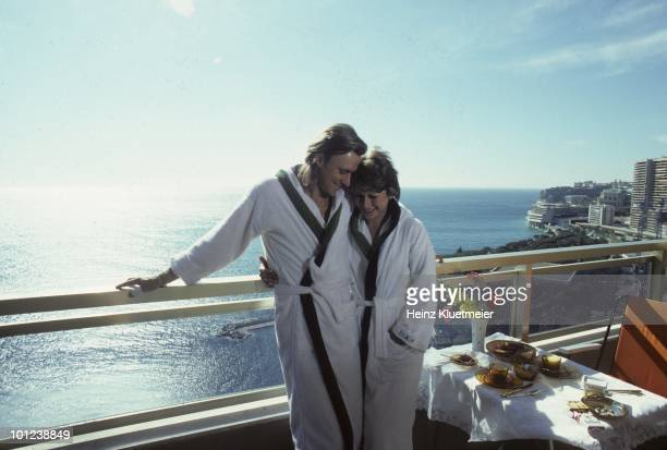 Sweden Bjorn Borg with fiancee Mariana Simionescu on outdoor patio during photo shoot Monte Carlo Monaco 3/1/19803/31/1980 CREDIT Heinz Kluetmeier