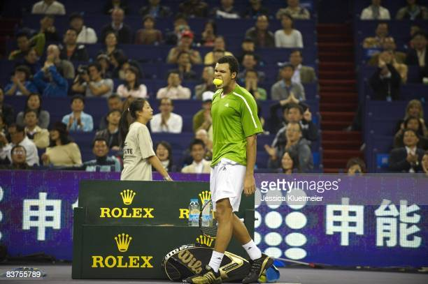 Tennis Masters Cup France JoWilfried Tsonga upset chewing ball between points during Singles Round Robin Play match vs Argentina Juan Martin del...