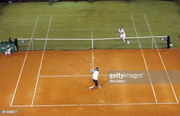Tennis The Battle of Surfaces Aerial view of Spain Rafael Nadal vs Switzerland Roger Federer during exhibition match on clay and grass hybrid court...