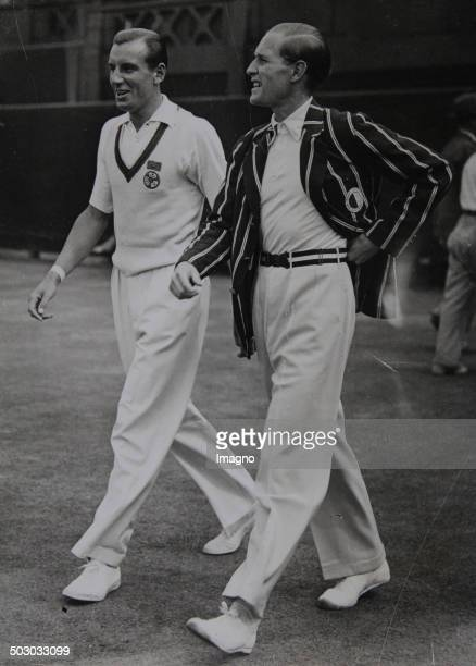 Tennis. The English tennis player Fred Perry and the German tennis player Gottfried von Cramm at the finiale. Wimbledon. London. 2nd July 1936....