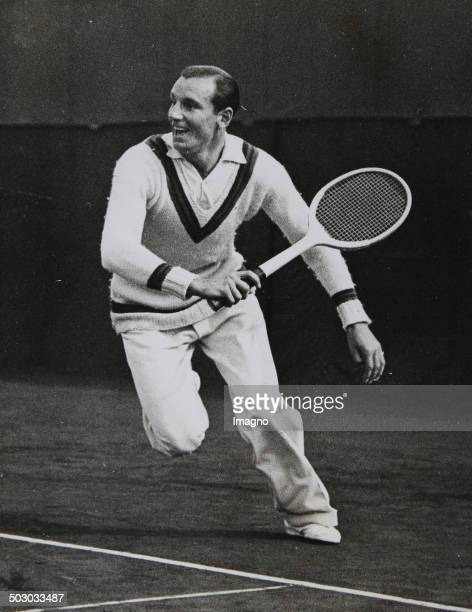 Tennis. The English tennis player Fred Perry in a backhand motion. About 1935. Photograph.