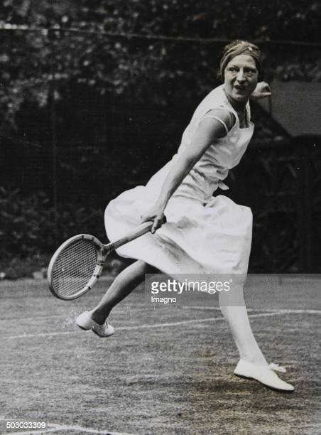 Tennis. The French tennis player Suzanne Lenglen in training for her comeback in England. July 1932. Photograph.