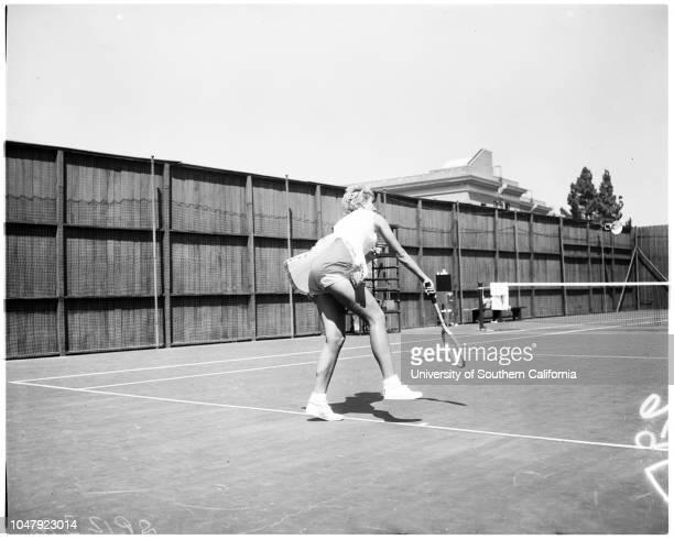 Tennis -- the girl with the golden panties, 10 September 1958. Karol Fageros. 'Sports'. .;Caption slip reads: 'Photographer: Rustan. Date: ....