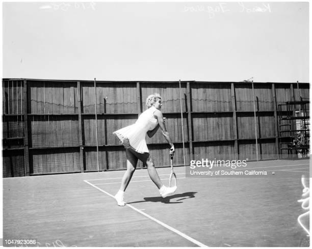 Tennis the girl with the golden panties 10 September 1958 Karol Fageros 'Sports' Caption slip reads 'Photographer Rustan Date Assignment Tennis...