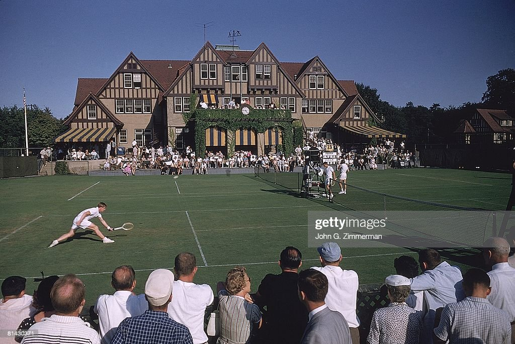 US National Championships, Scenic view of miscellaneous action at West Side Tennis Club, Forest Hills, NY 9/4/1956