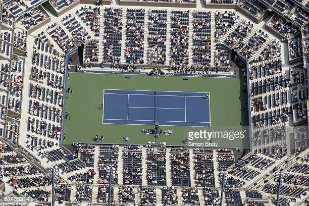 Tennis US Open Aerial view from MetLife blimp of Arthur Ashe Stadium during 1st round at National Tennis Center Flushing NY 8/29/2005