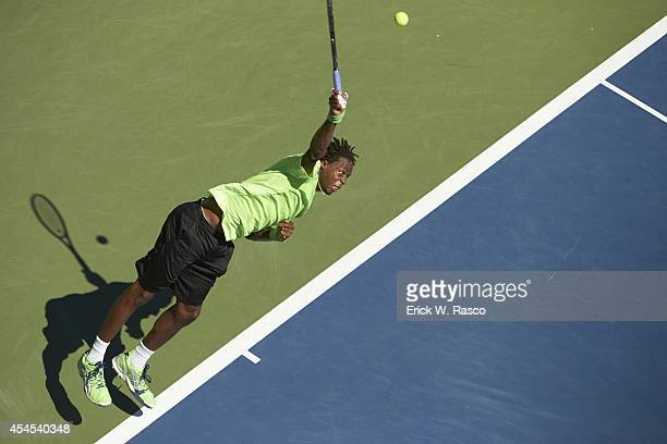 US Open Aerial view of France Gaels Monfils in action serve vs Colombia Alejandro Gonzalez during Men's 2nd Round match at BJK National Tennis Center...