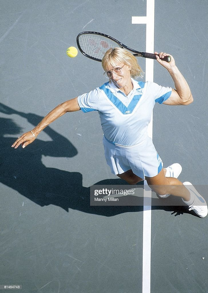 US Open, Aerial view of Martina Navratilova in action during serve at National Tennis Center, Flushing, NY 9/2/1985