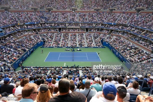 Aerial view of Russia Daniil Medvedev in action, serving vs Serbia Novak Djokovic during Men's Final at Arthur Ashe Stadium. Flushing, NY 9/12/2021...