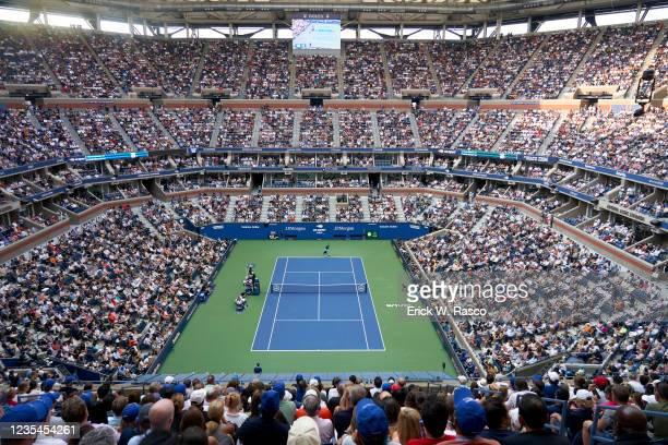 Aerial view of Serbia Novak Djokovic in action, serving vs Russia Daniil Medvedev during Men's Final at Arthur Ashe Stadium. Flushing, NY 9/12/2021...