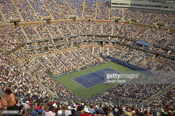 US Open Aerial view of Switzerland Roger Federer in action vs Croatia Marin Cilic during Men's Semifinals match at BJK National Tennis Center...