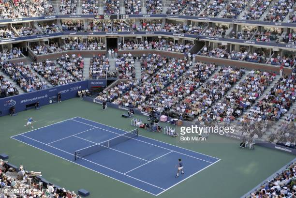Tennis US Open Aerial view of USA Andre Agassi in action during finals match vs Switzerland Roger Federer at National Tennis Center View of Arthur...